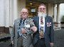 Waiting for the bus, Pat Kiely and Trevor Hopper (Trevor is a 104 Veteran from 1969 and attended as Pat's Carer)